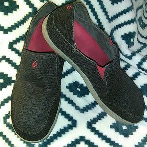 Olukai MENS Black Mesh Loafers